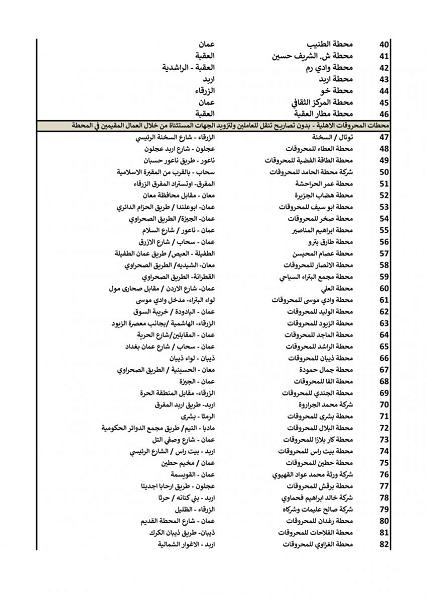 محطات محروقات مستثناة من الحظر - اسماء