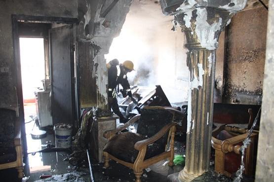 إصابة 6 أشخاص بحريق شقة بجبل النصر