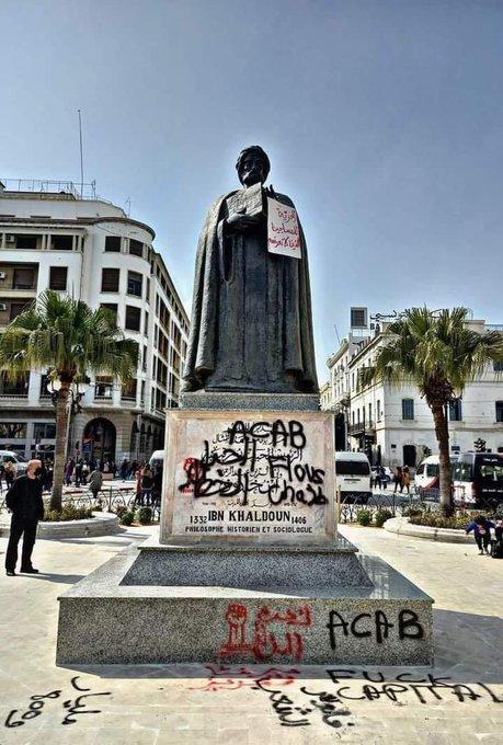 تشويه تمثال ابن خلدون في تونس