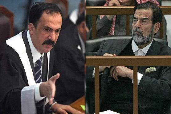 صورة صدام في ارض مجلس عزاء قاض حاكمه - شاهد