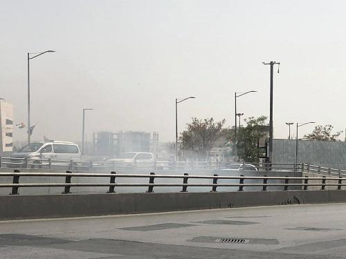 احتراق سيارة اسفل جسر الشميساني