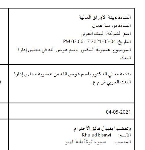 تنحية باسم عوض الله من مجلس ادارة البنك العربي