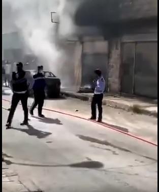 احتراق محل وسيارة في إربد - فيديو