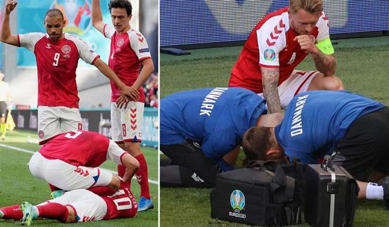 تعليق مباراة الدنمارك وفنلندا بعد سقوط مفزع لإريكسن - فيديو